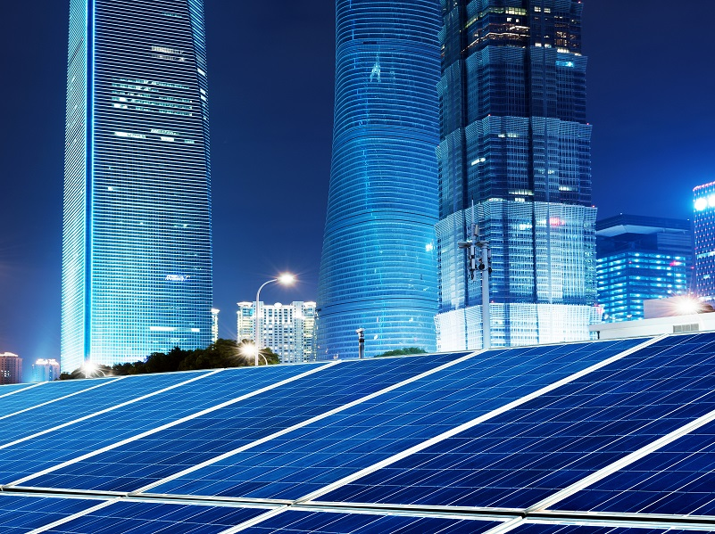 Shanghai China, skyscrapers and cities photovoltaic panels.
